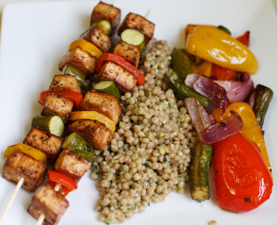Balsamic tofu skewers