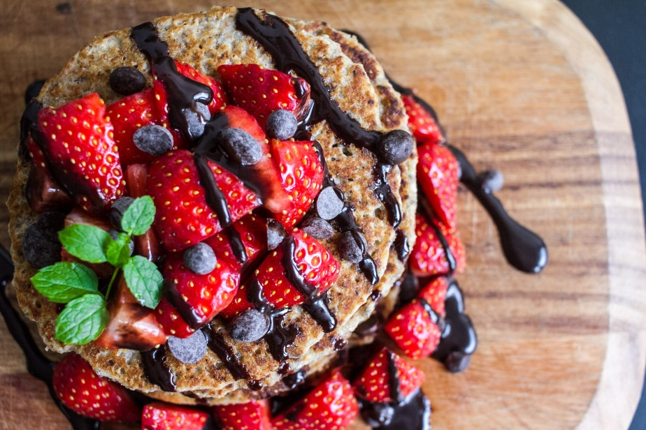Easy, healthy banana chia seed pancakes