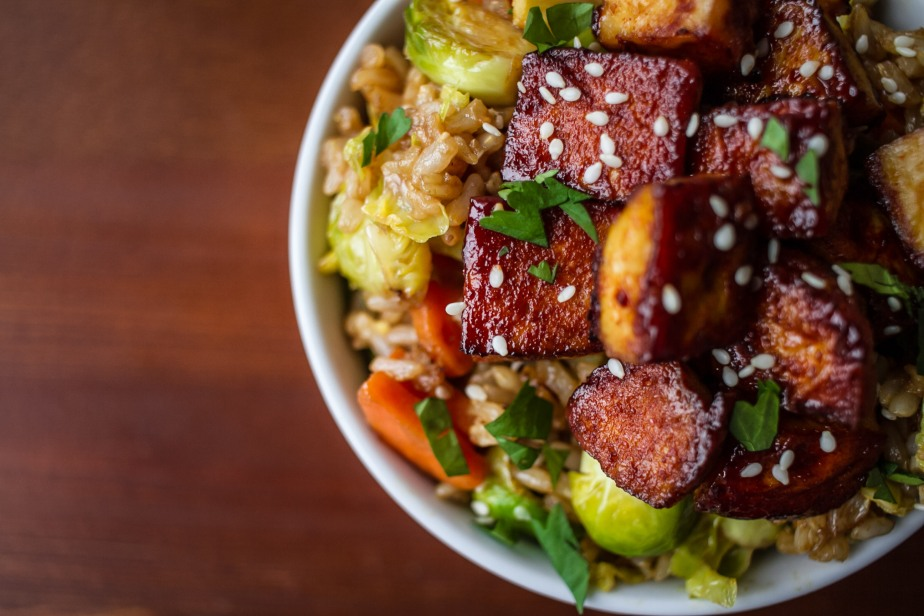 Spicy tofu & brussels sprout fried rice